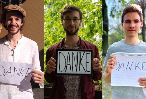 Team des Dokumentarfilms über Solidarische Landwirtschaft mit Danke-Schildern